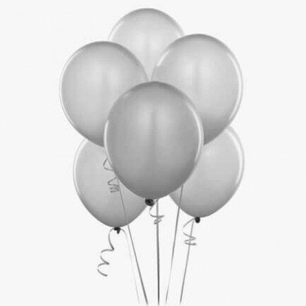 (12) Silver Helium Balloons