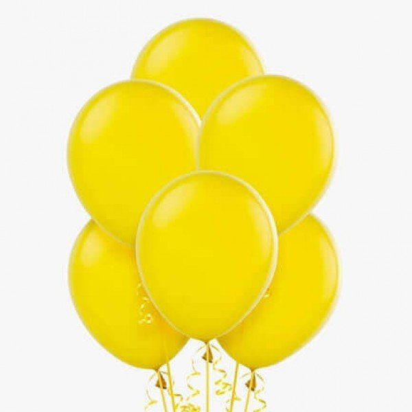 (6) Yellow Helium Balloons