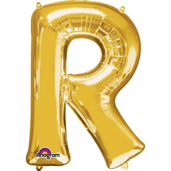 GOLDEN R Letter Balloon