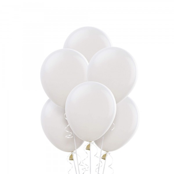 (12) White Helium Balloons