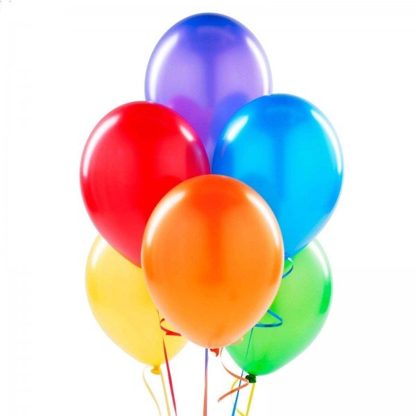 (6) Colorful Helium Balloons