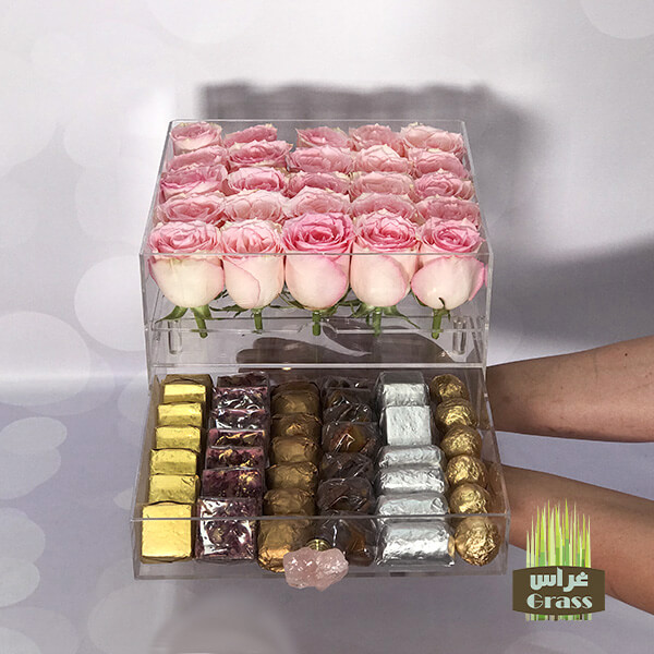 LU'CHOCO Chocolate Acrylic Box with Pink Roses